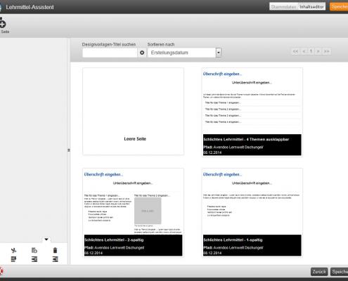 Lehrmittel Inhaltseditor Auswahl Designvorlage