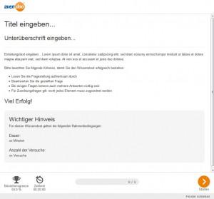 Wissenstest Startseite Vorschau Benutzer