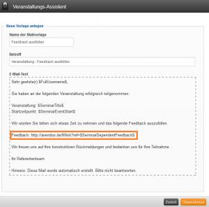 Veranstaltungs-Assistent Mailvorlage Link Feedback