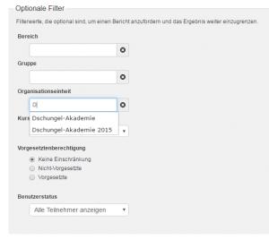 Auswahl dynamischer Bericht optionale Filter